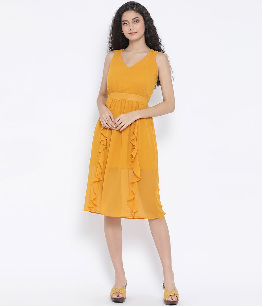 Oxolloxo Polyester Yellow Wrap Dress