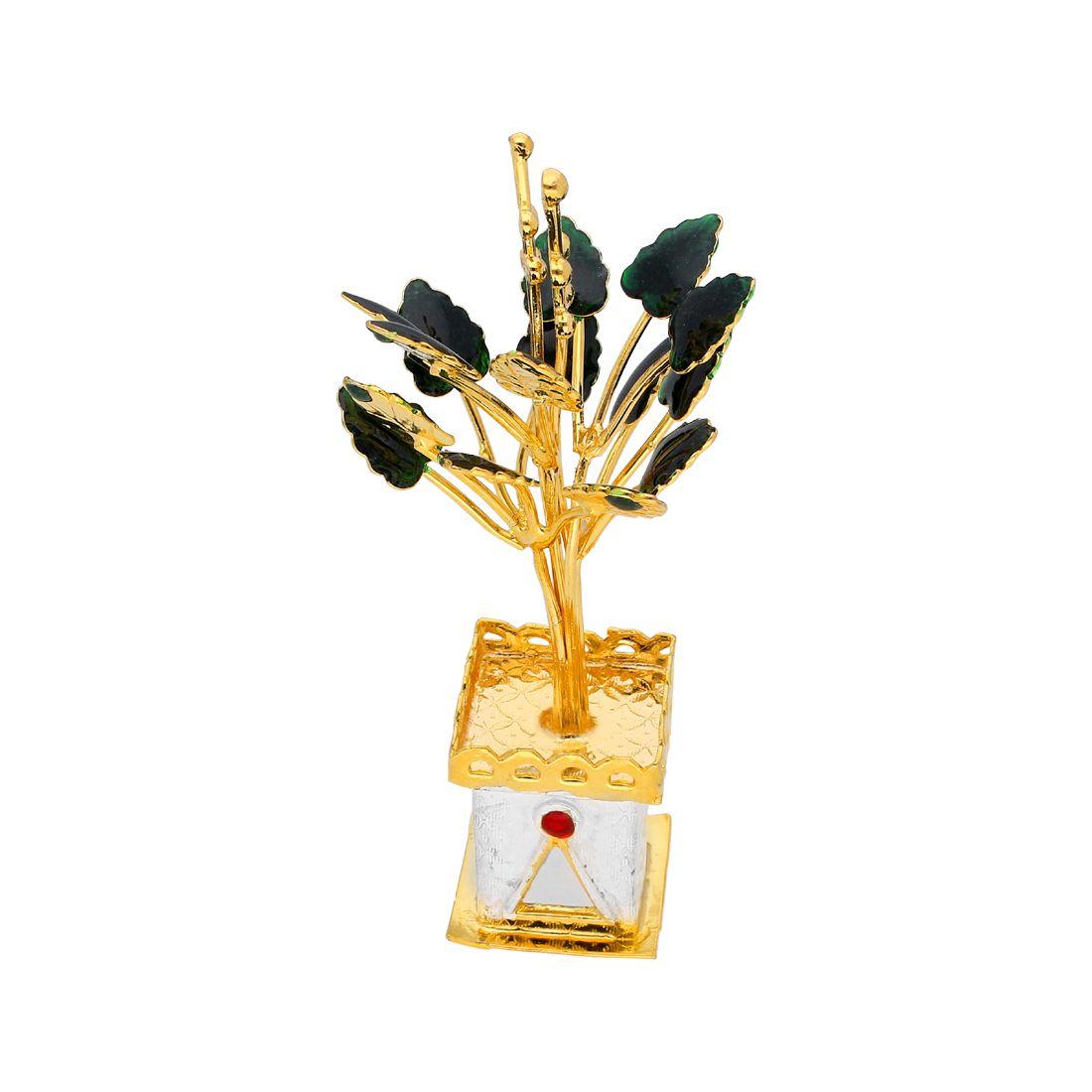 Pooja Golden Tulsi Silver Plant