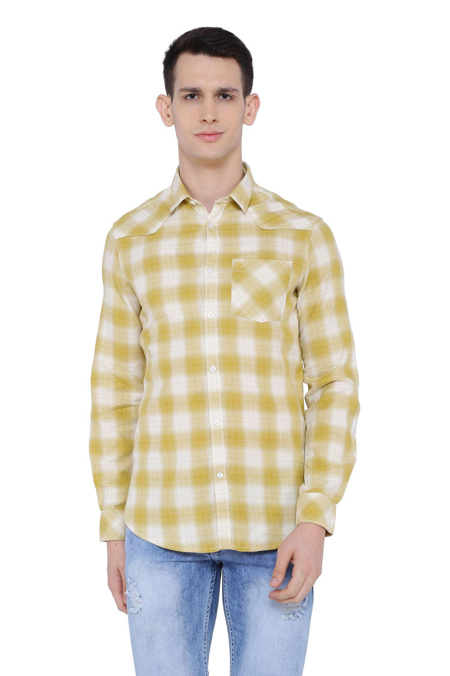 Risque 100 Percent Cotton Green Checks Shirt