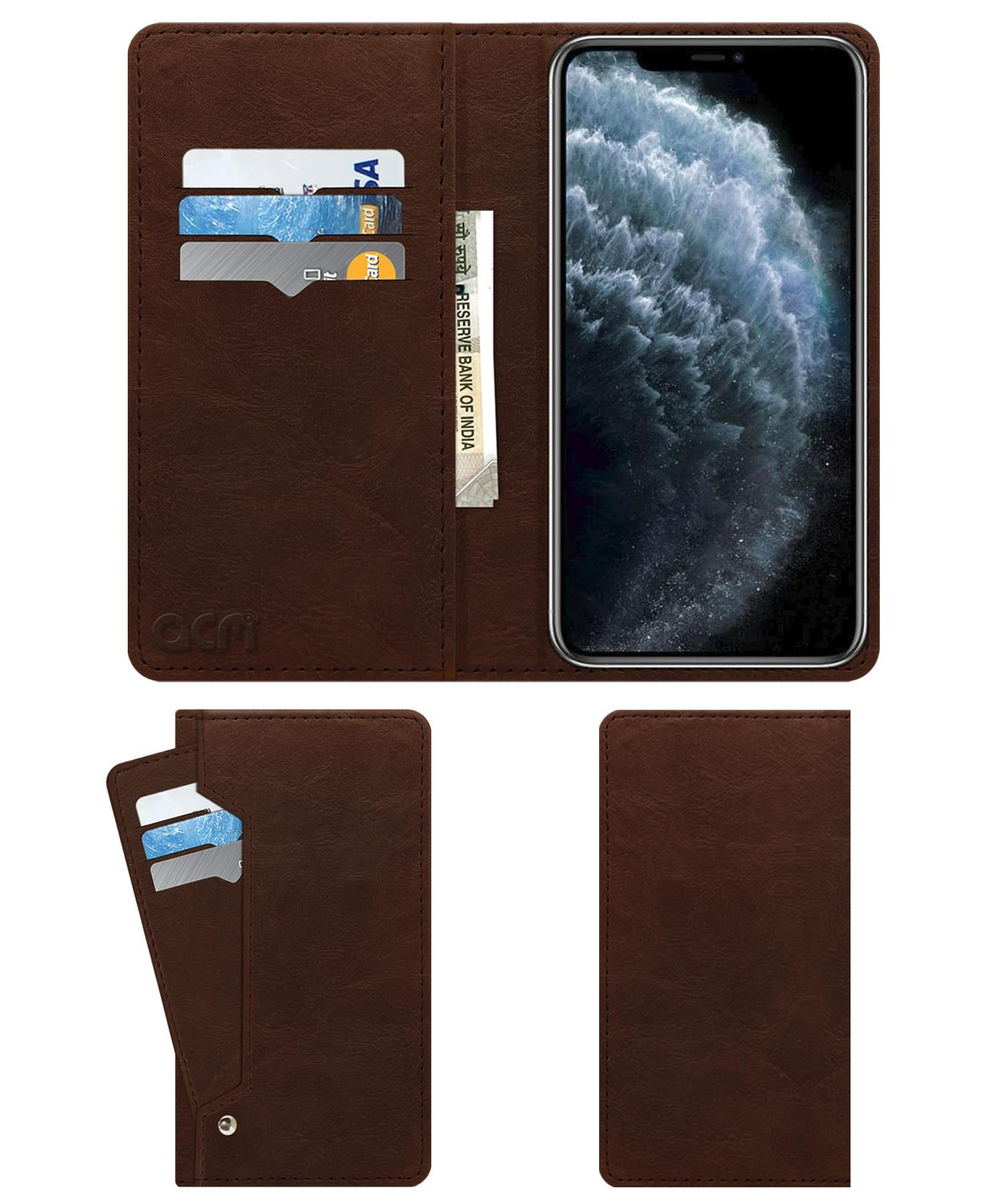 Apple Iphone 11 Pro Max Flip Cover by ACM - Brown Wallet Case,Can store 6 Card & Cash,Rich Brown