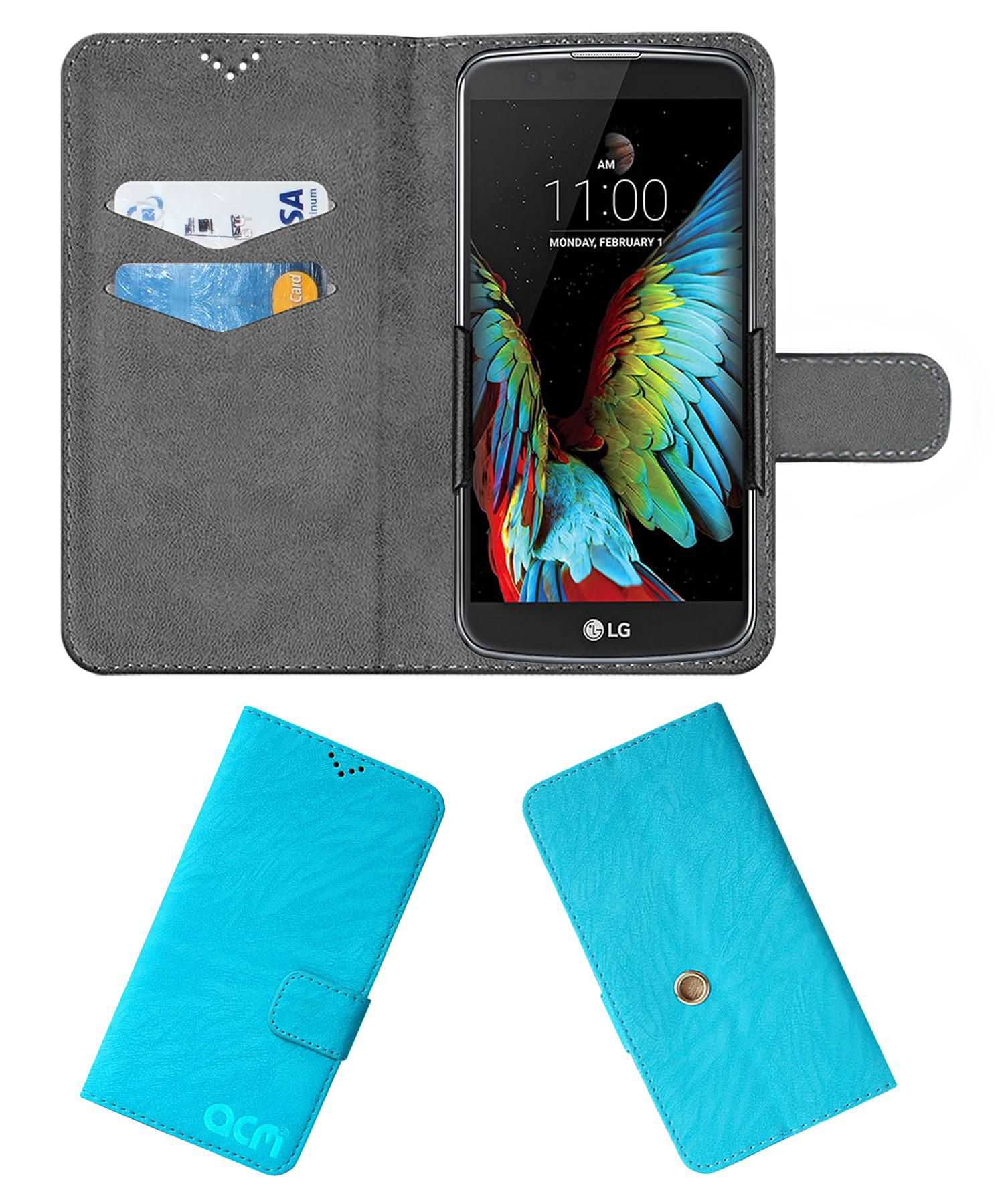 LG K10 4G Flip Cover by ACM - Blue Clip holder to hold your mobile securely