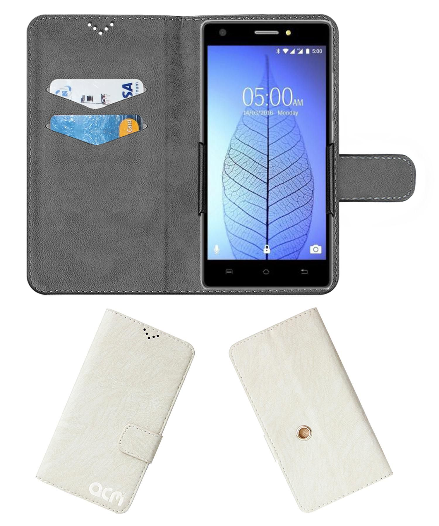 Lava Pixel V2 Plus Flip Cover by ACM - White Clip holder to hold your mobile securely