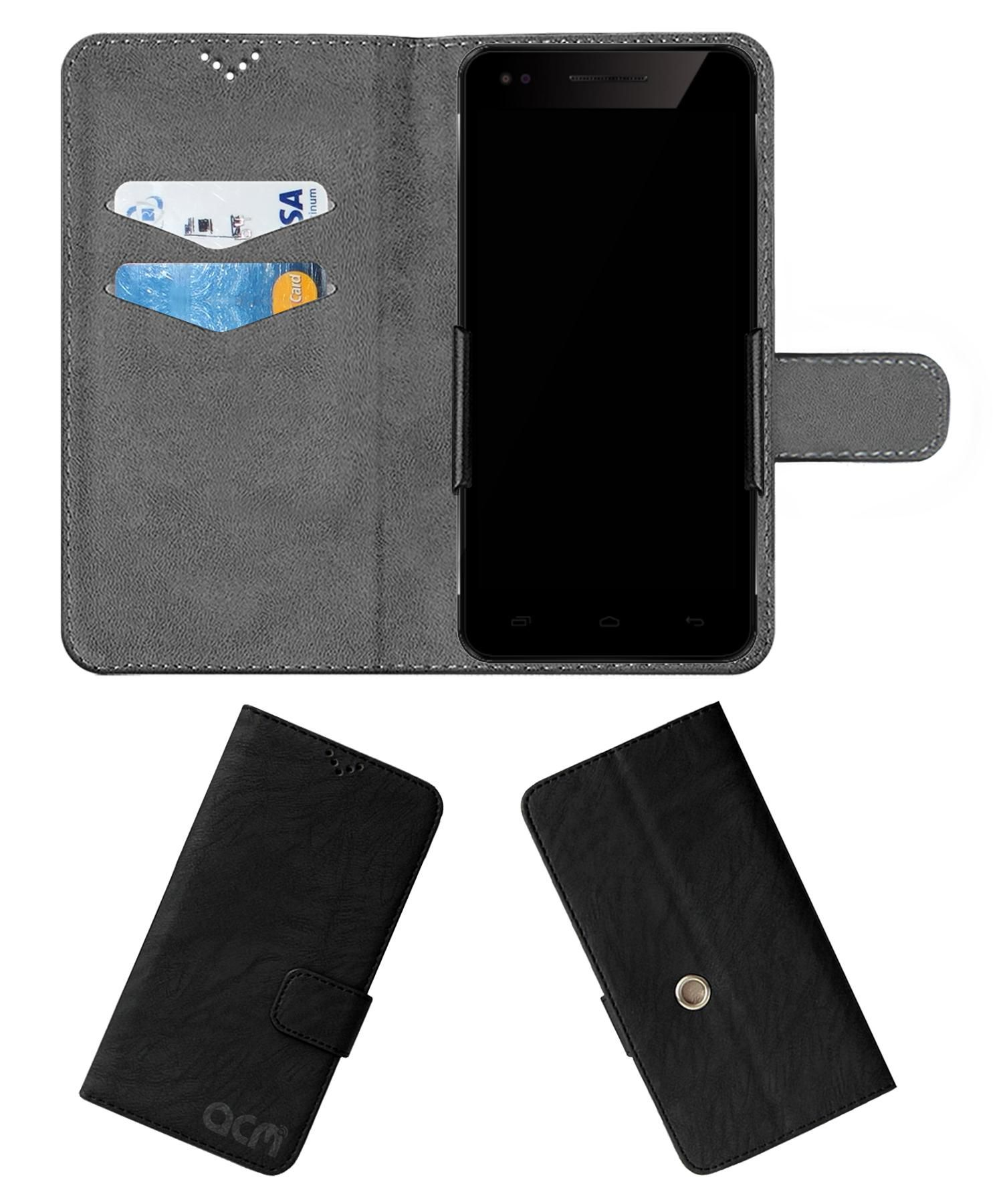 Micromax Canvas Hue 2 Flip Cover by ACM - Black Clip holder to hold your mobile securely