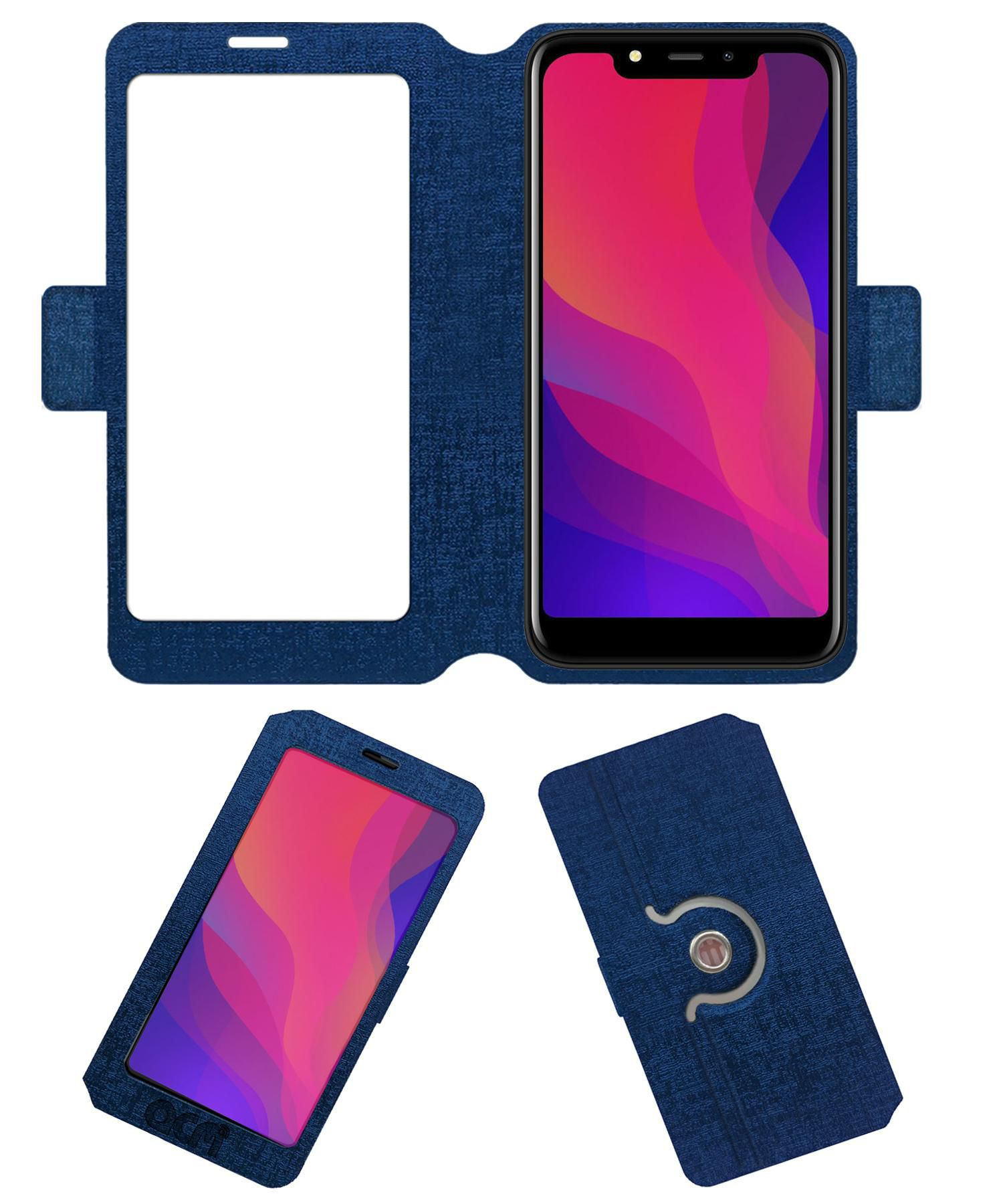 Micromax Ione Flip Cover by ACM - Blue Dual Side Stand
