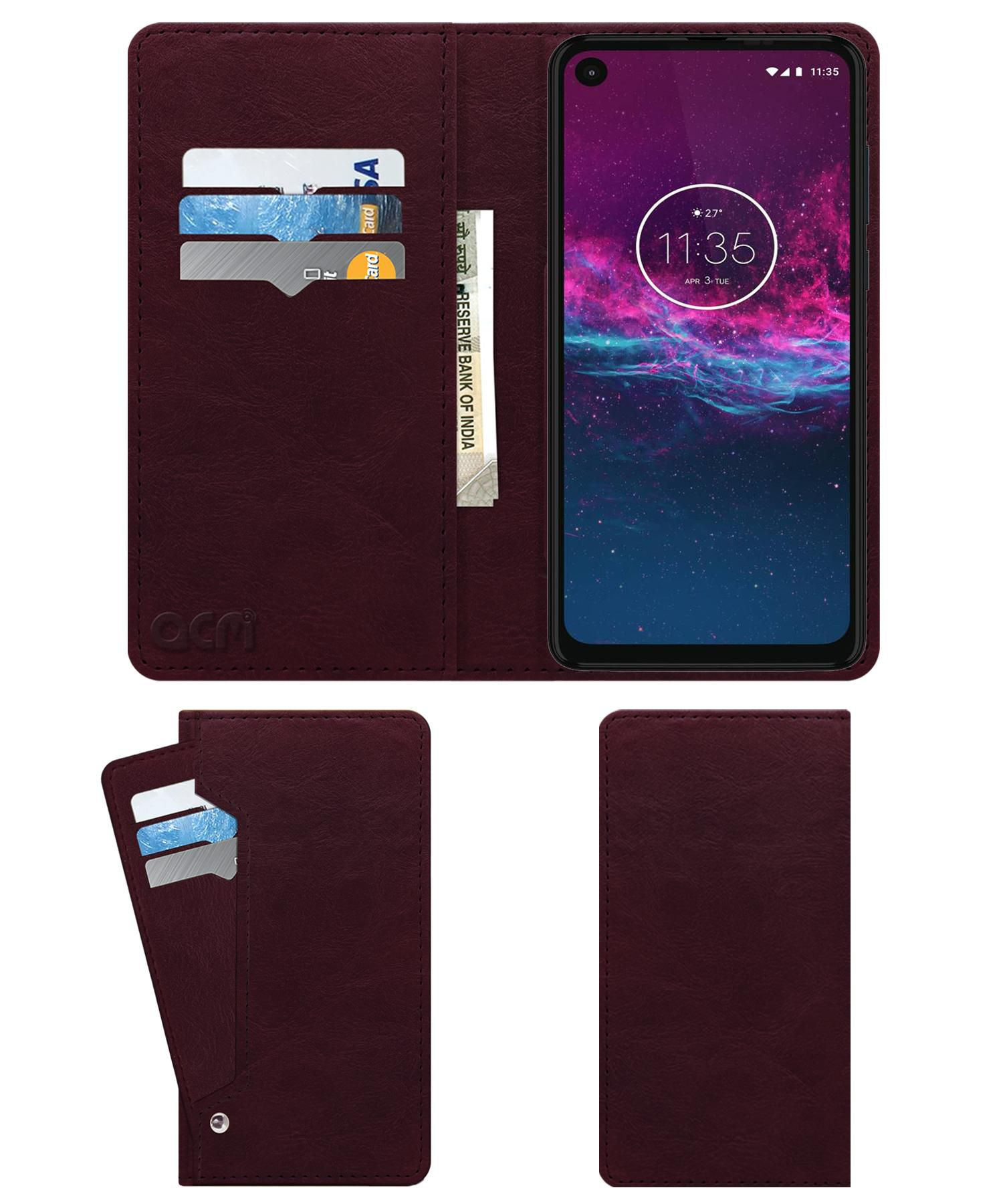 Motorola One Action Flip Cover by ACM - Red Wallet Case,Can store 6 Card & Cash,Burgundy Red