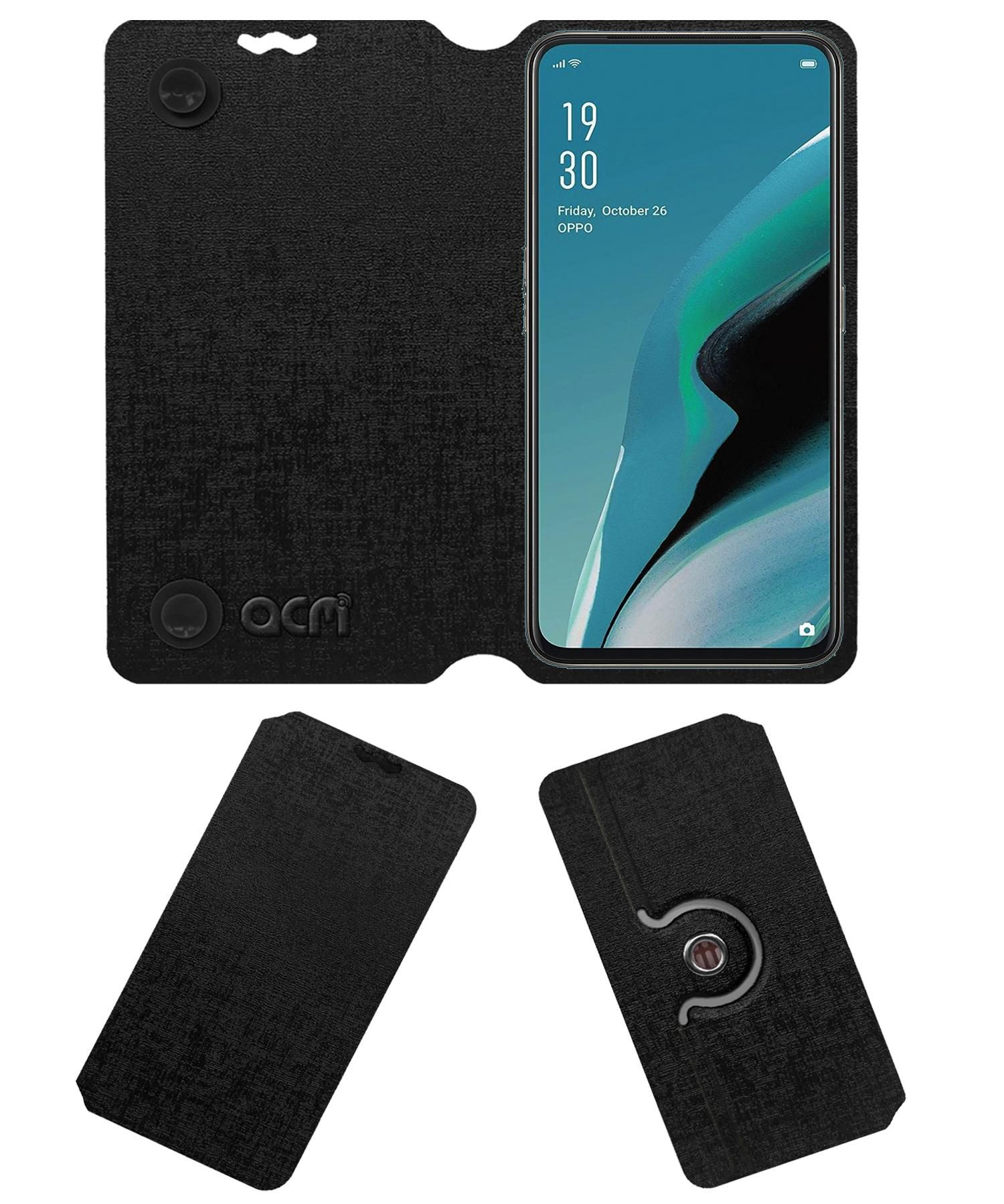 Oppo Reno 2F Flip Cover by ACM - Black Dual Side Stand