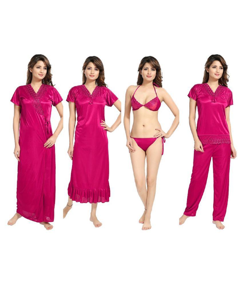 Reposey Satin Night Dress - Purple