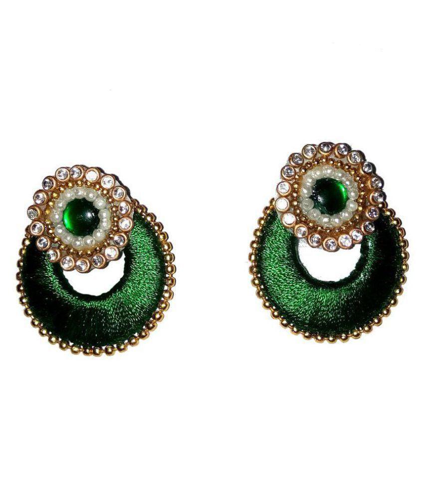 Fashionable Green Chandbali Earrings By shrungarika