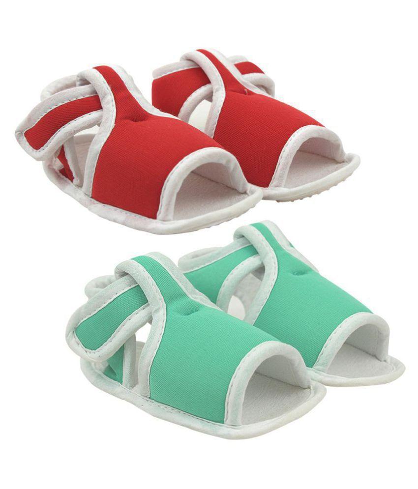 Neska Moda Unisex Baby Red And Green Anti Slip Velcro Sandal For 0 To 12 Months