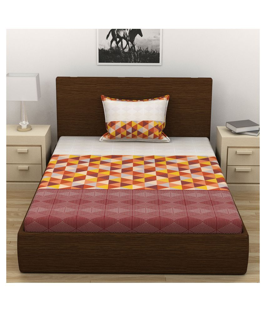 AMMAYA Cotton Single Bedsheet with 1 Pillow Cover