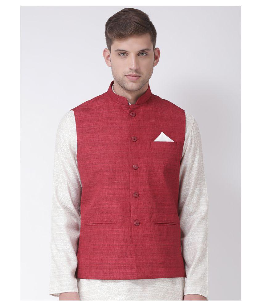 Tabard Maroon Silk Nehru Jacket