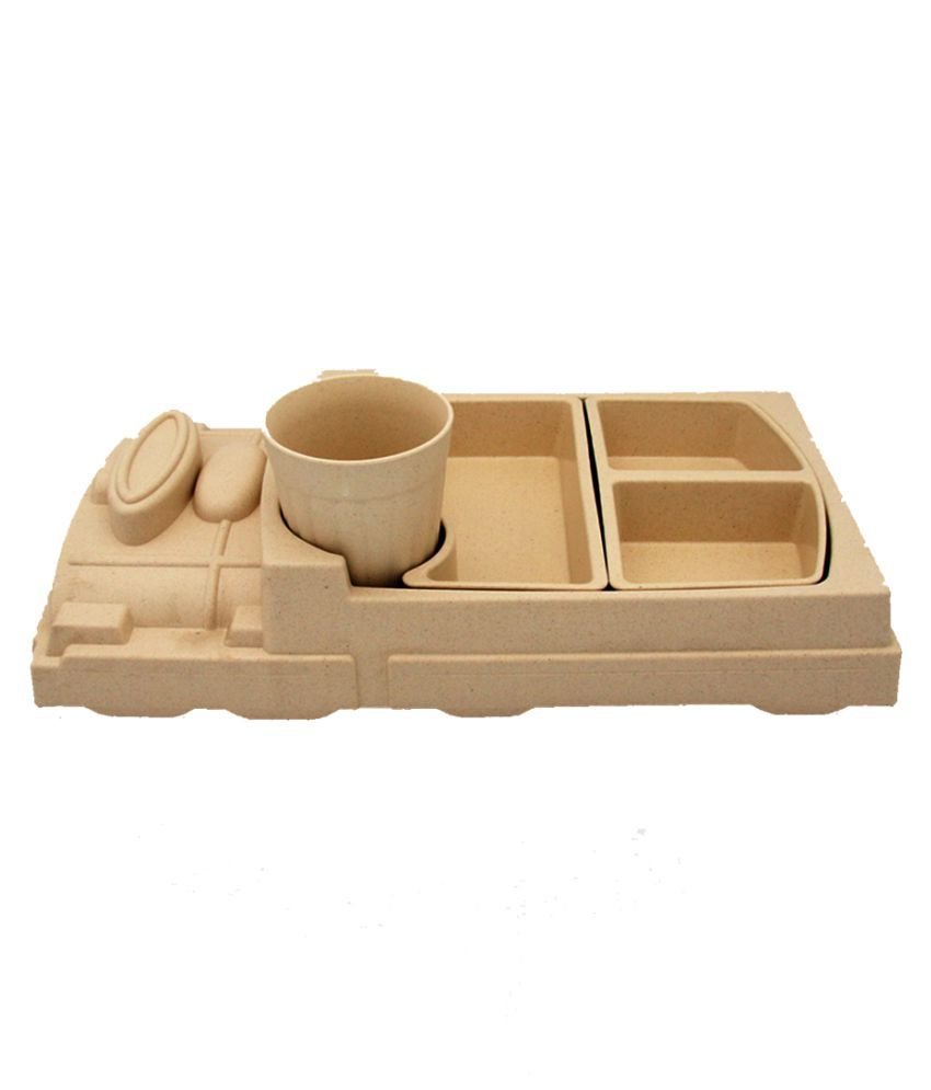 EZ Life KidsMeal-CreamTrain Bamboo Dinner Set of 4 Pieces