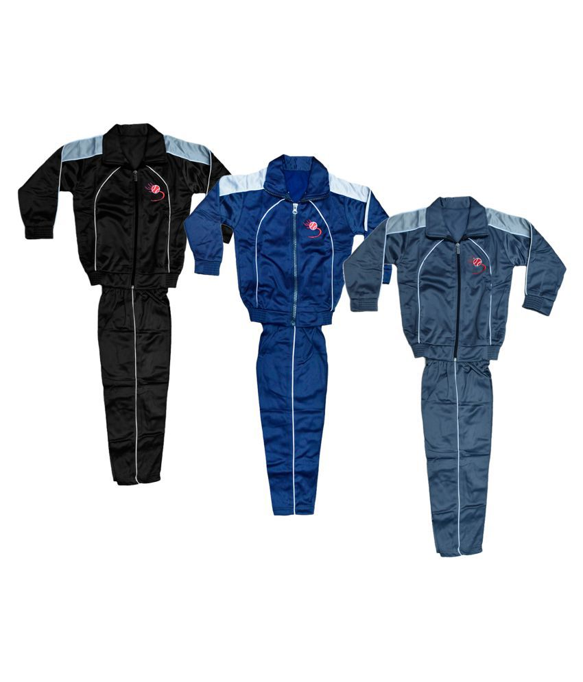 KAYU Boys and Girls Polyester Warm Winter Wear Track Suits (Pack of 3)
