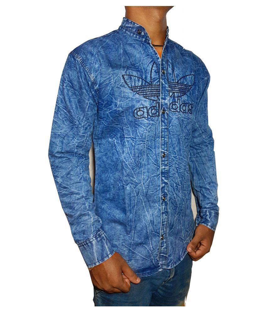 Texme Cotton Blend Blue Prints Shirt
