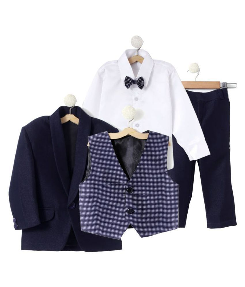 Jeetethnics Navy Blue Silk Boys Coat Suit Set