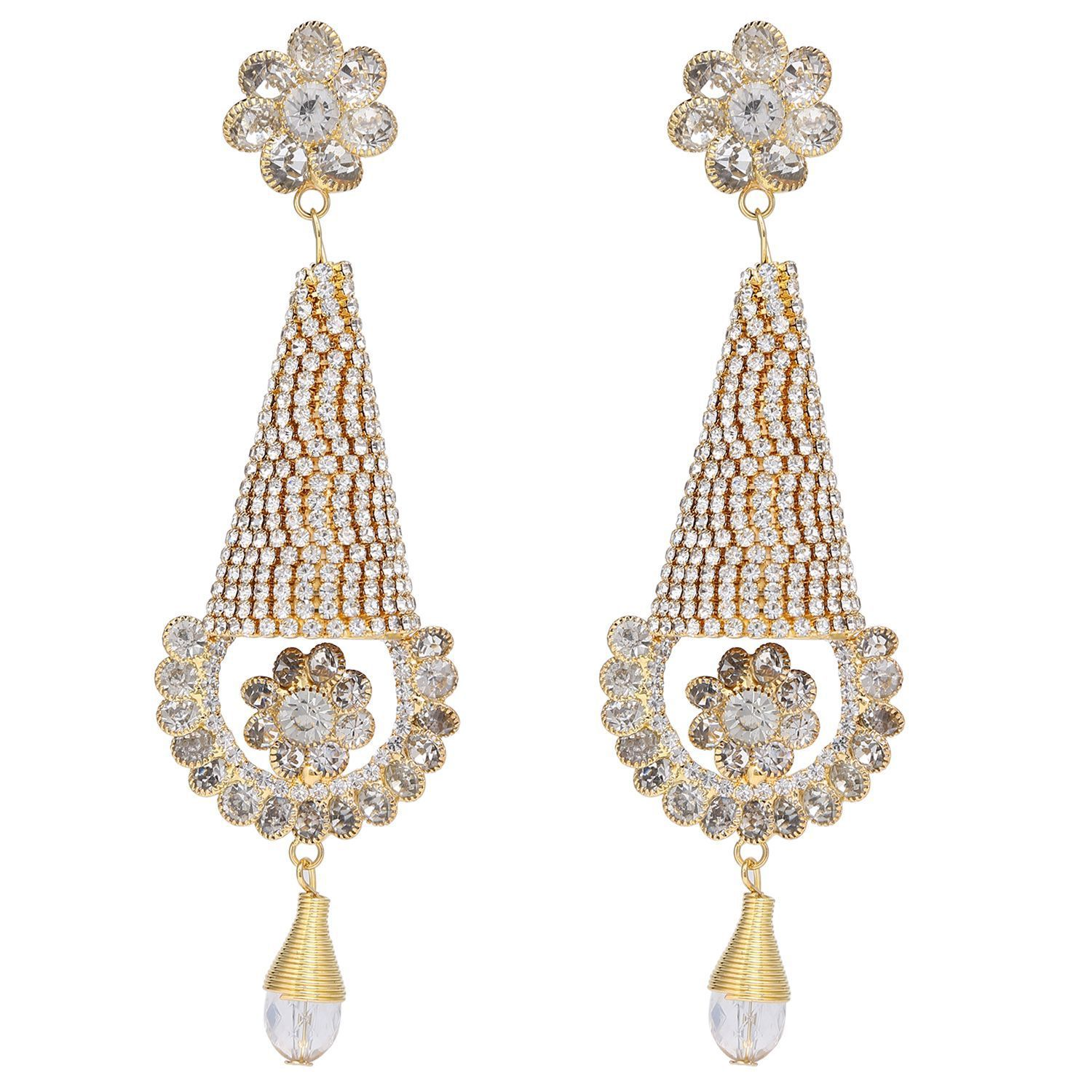 Archi Collection Fashion Jewellery Stylish Gold Plated CZ Tassel Wedding Party Wear Dangle Earring Set