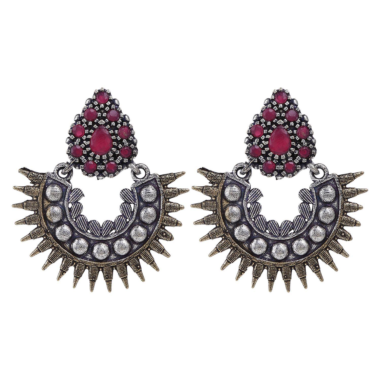 Archi Collection Fashion Jewellery Stylish Antique Boho Vintage Oxidised Gold Silver CZ Chandbali Earrings Set
