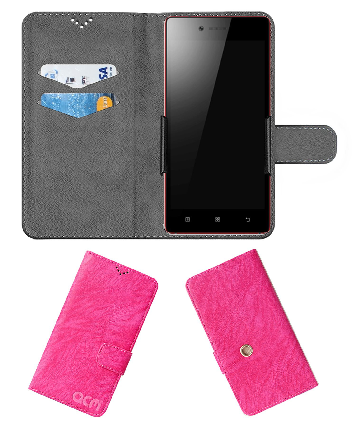 Lenovo Vibe Shot Flip Cover by ACM - Pink Clip holder to hold your mobile securely