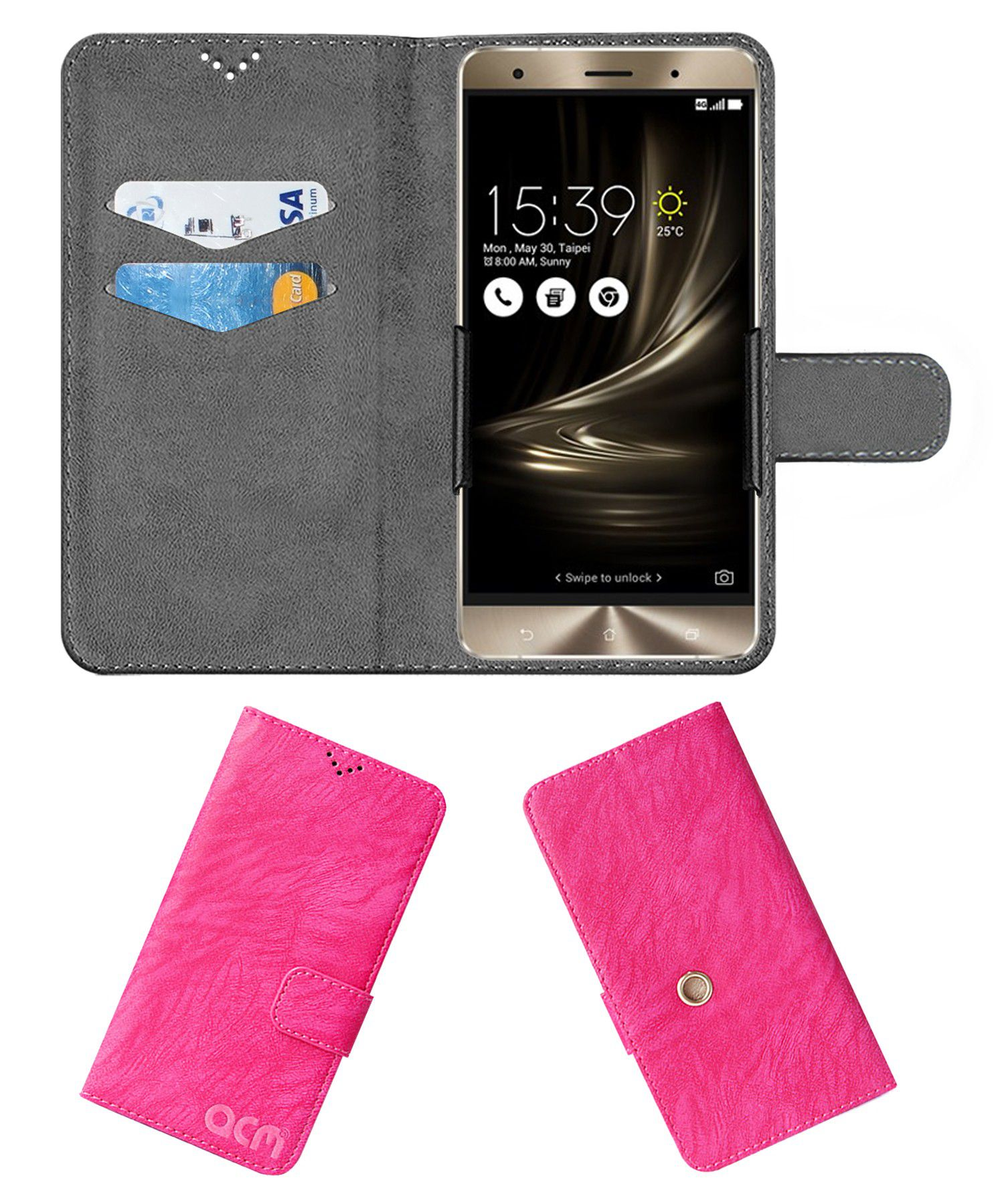 Asus Zenfone 2 Deluxe Flip Cover by ACM - Pink Clip holder to hold your mobile securely