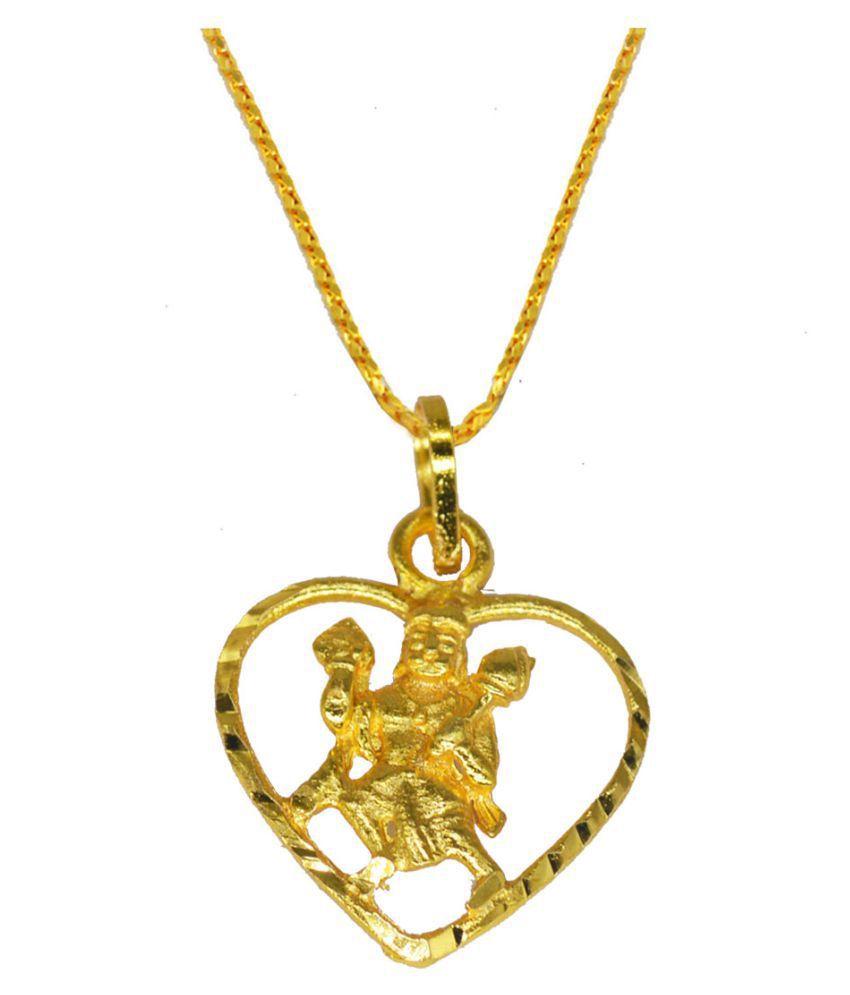 Heart Shape Pawan Putra Hanuman Bajrang Bali Locket With Chain Gold-plated Brass, Metal Pendant