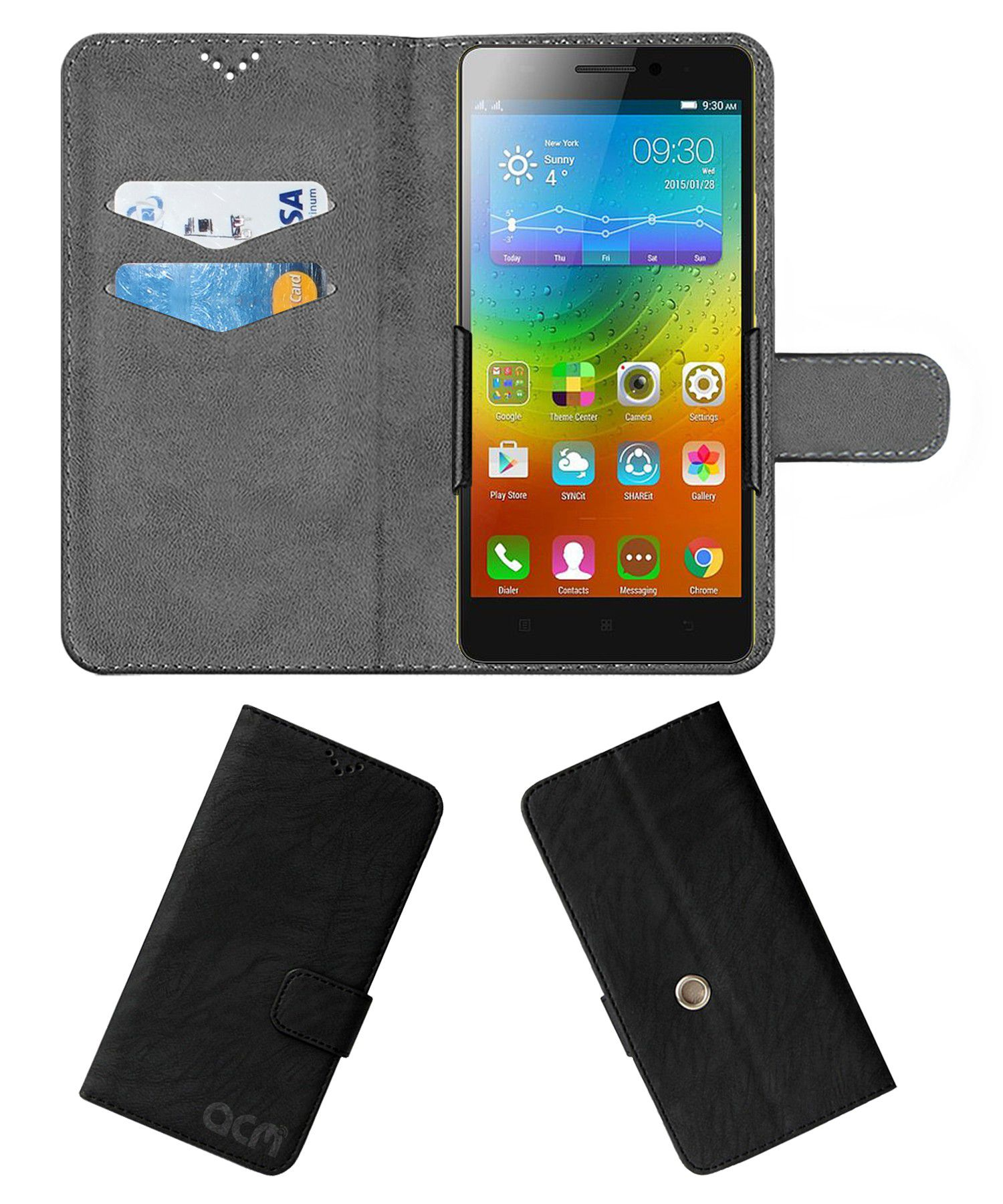 Lenovo K3 Note Music Flip Cover by ACM - Black Clip holder to hold your mobile securely