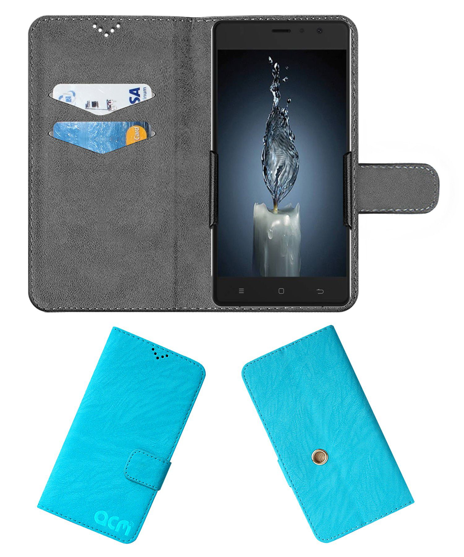 ZOPO COLOR F1 Flip Cover by ACM - Blue Clip holder to hold your mobile securely