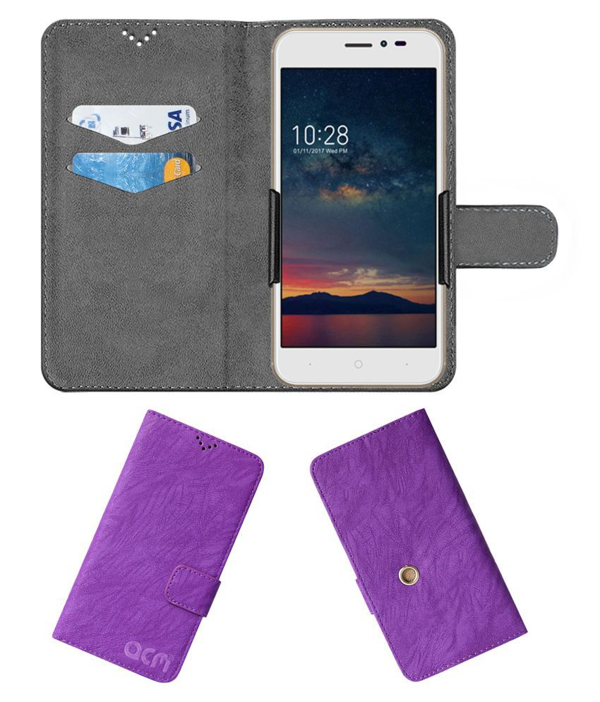 Infocus A2 If9035 Flip Cover by ACM - Purple Clip holder to hold your mobile securely