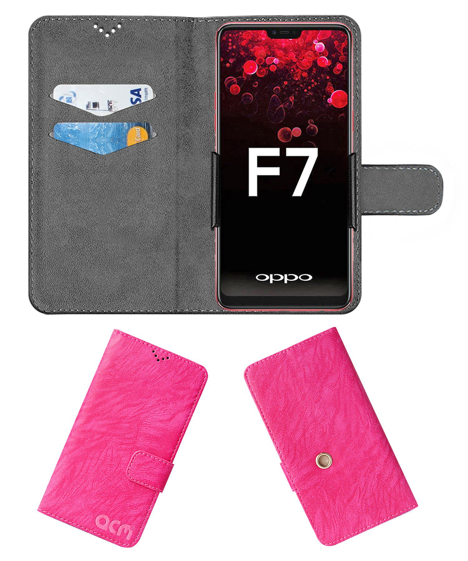 Oppo F7 Cricket Limited Edition Flip Cover by ACM - Pink Clip holder to hold your mobile securely