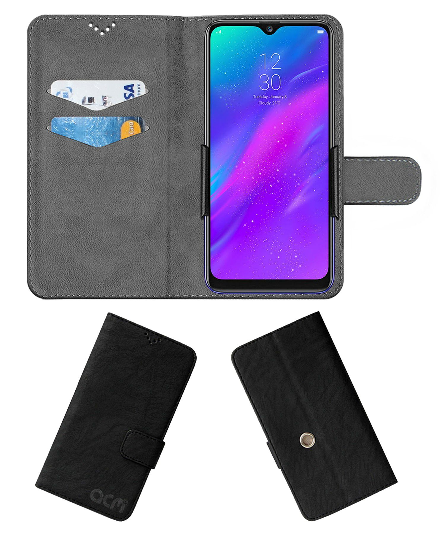 Realme 3 Flip Cover by ACM - Black Clip holder to hold your mobile securely