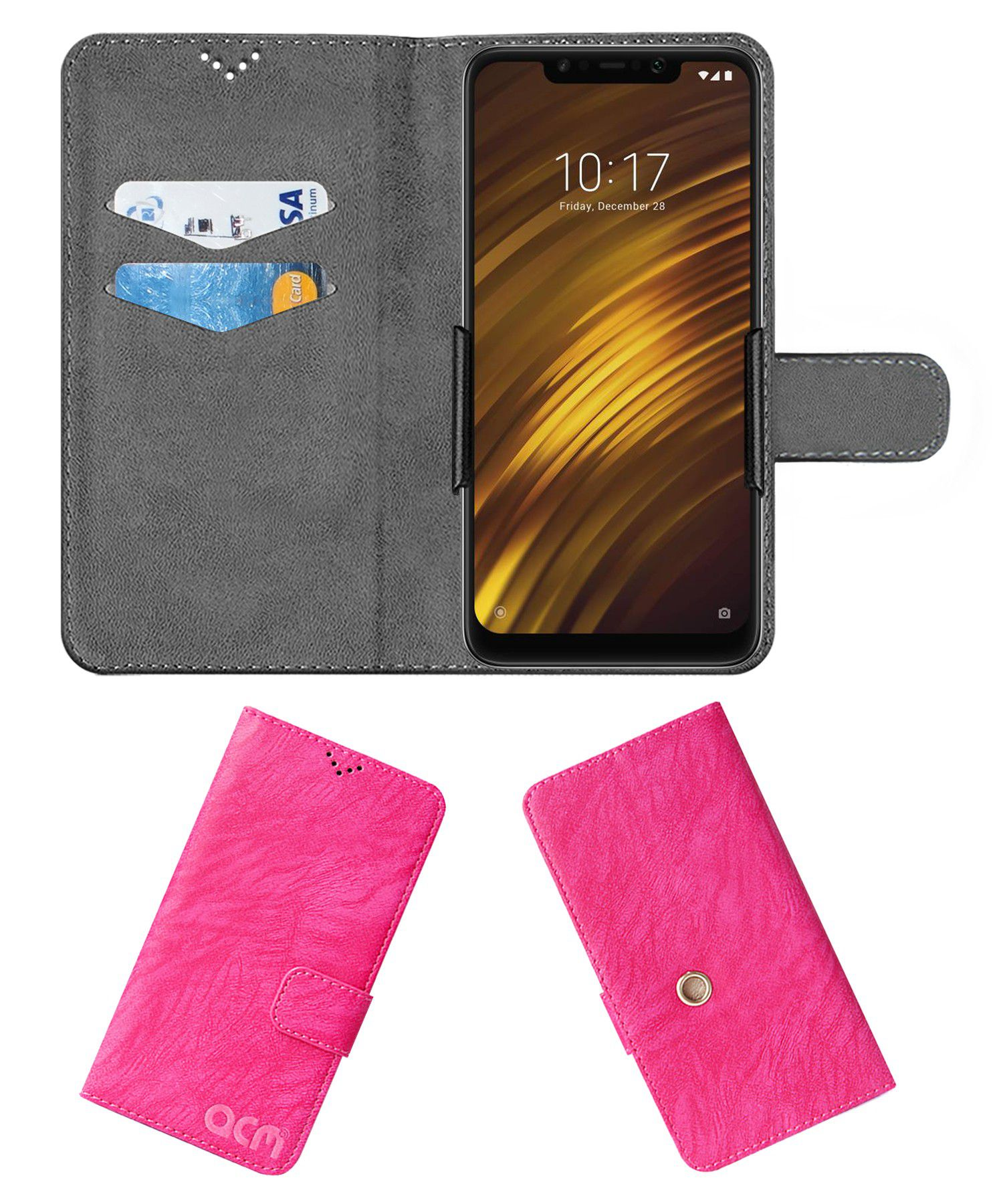 Xiaomi Redmi Poco F1 Flip Cover by ACM - Pink Clip holder to hold your mobile securely