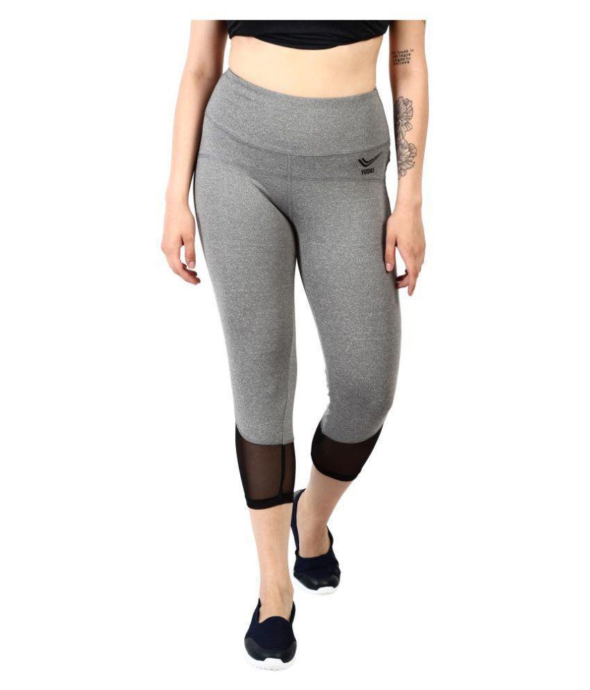 YUUKI Gray Polyester Solid Tights