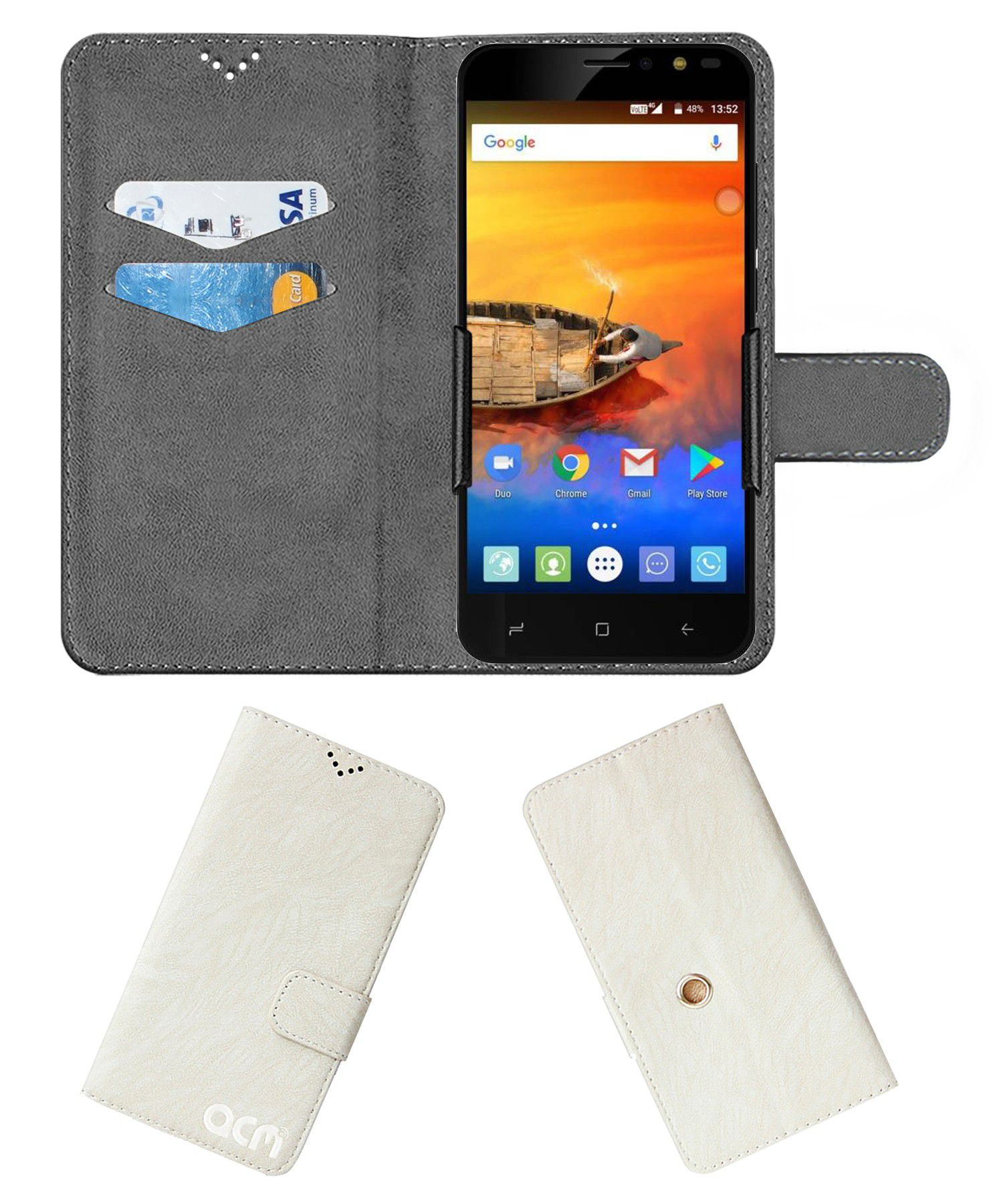 iVoomi Me3 Flip Cover by ACM - White Clip holder to hold your mobile securely