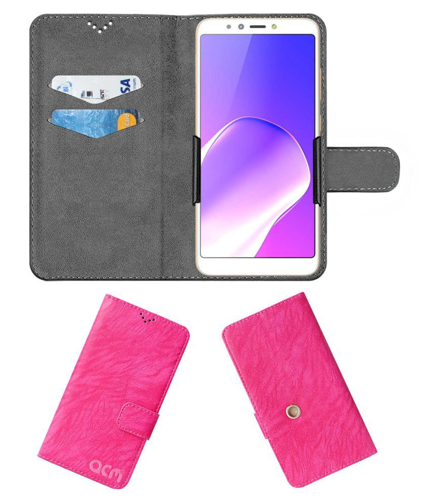 Infinix Hot 6Pro Flip Cover by ACM - Pink Clip holder to hold your mobile securely