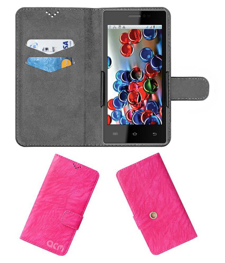 Intex CLOUD Y17 Flip Cover by ACM - Pink Clip holder to hold your mobile securely