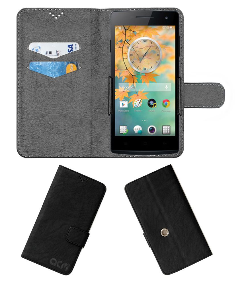Oppo Find 5 Mini Flip Cover by ACM - Black Clip holder to hold your mobile securely
