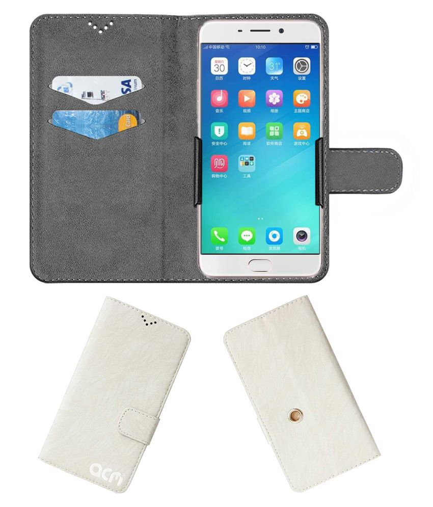 Oppo R9 Plus Flip Cover by ACM - White Clip holder to hold your mobile securely