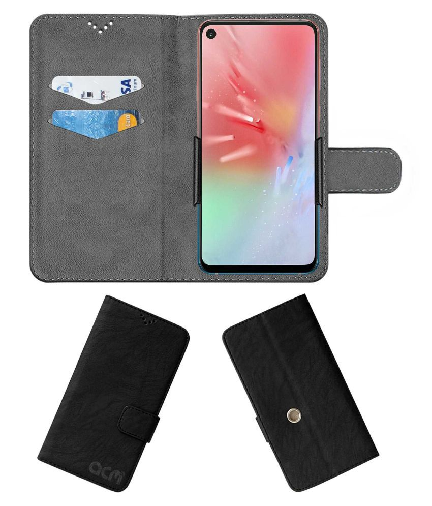 Samsung Galaxy A8s Flip Cover by ACM - Black Clip holder to hold your mobile securely