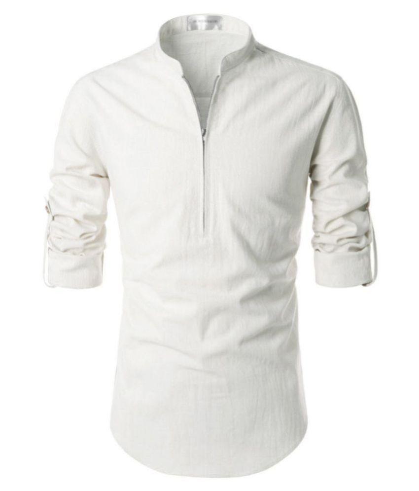 Vida Loca 100 Percent Cotton White Solids Shirt