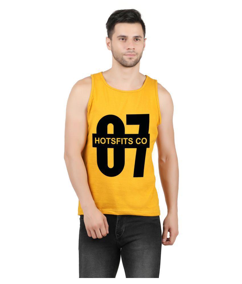Hotfits 100 Percent Cotton Yellow Printed T-Shirt