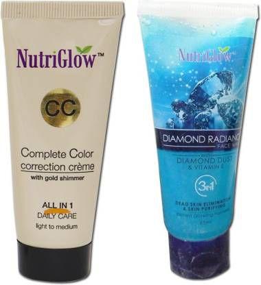 Nutriglow CC Cream +Diamond face wash 65 Cream Foundation Fair Pack of 2 50 g