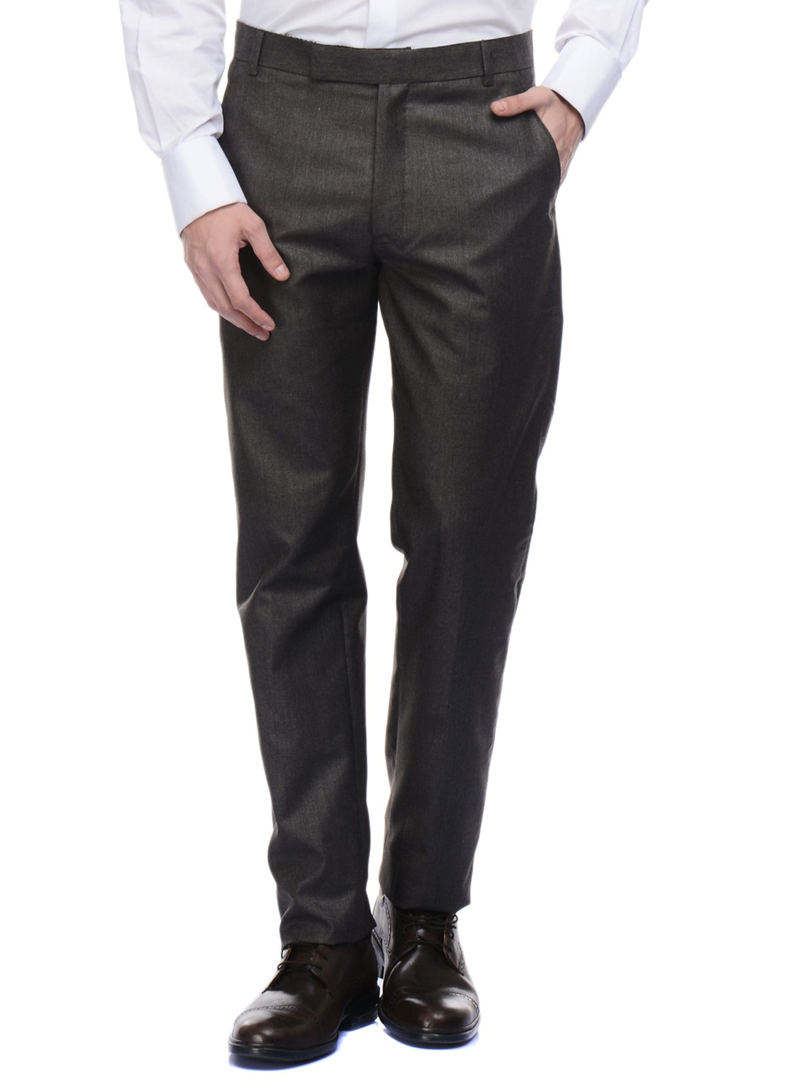 Face Me Grey Slim -Fit Flat Trousers