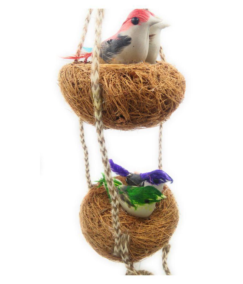 Shinde patil exports Jute multi colored Birds Nest Decorative Cage Multi - Pack of 1