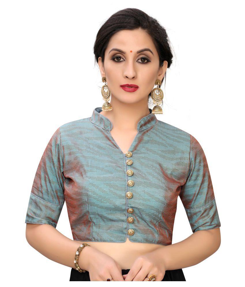 Fab Dadu Grey Silk Readymade with Pad Blouse