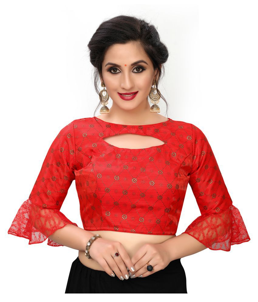 Fab Dadu Red Silk Readymade with Pad Blouse