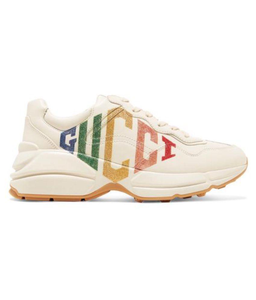 Gucci Rhyton Rainbow Running Shoes Tan