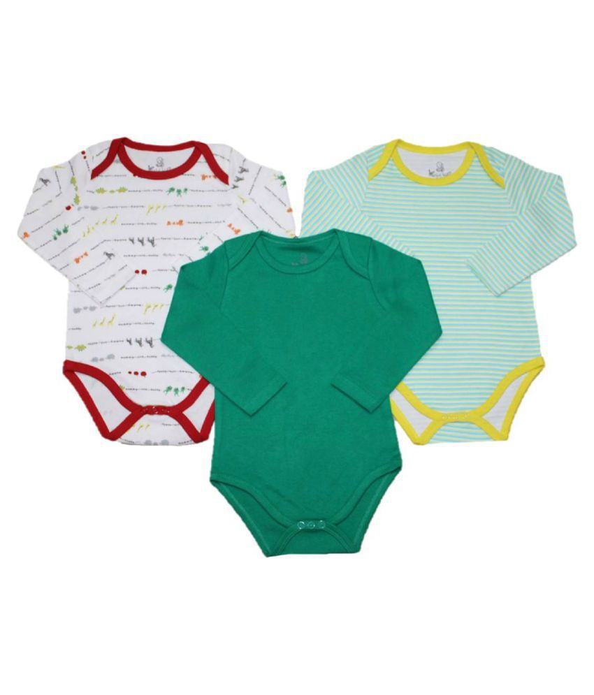 Krivi kids Set of 3 Multi Color Cotton Full Sleeve Baby Rompers .