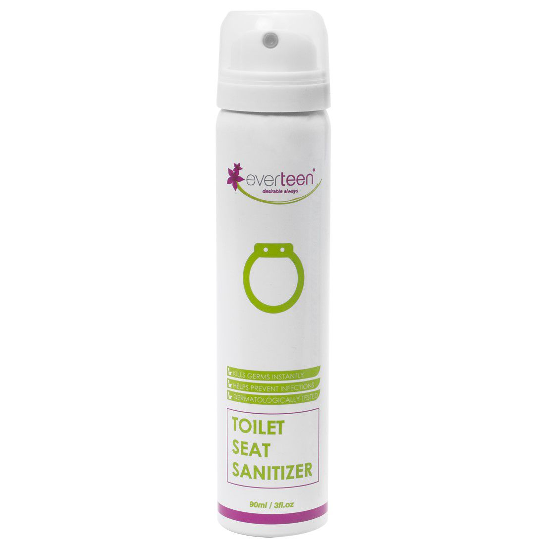 Everteen Instant Toilet Seat Sanitizer Toilet Cleaner Ready to Use Liquid Floral 90