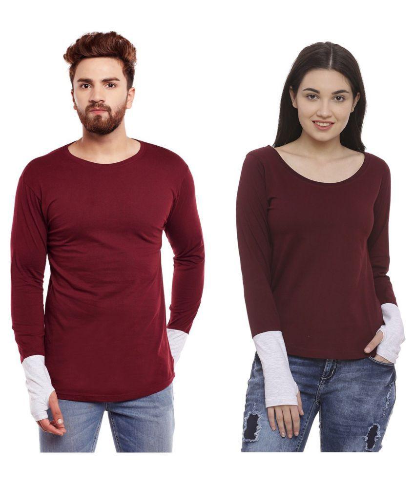 Bombay Clothing Company Maroon Cotton blend Couple Combo