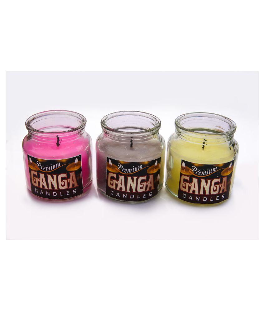 premium ganga Multicolour Jar Candle - Pack of 3
