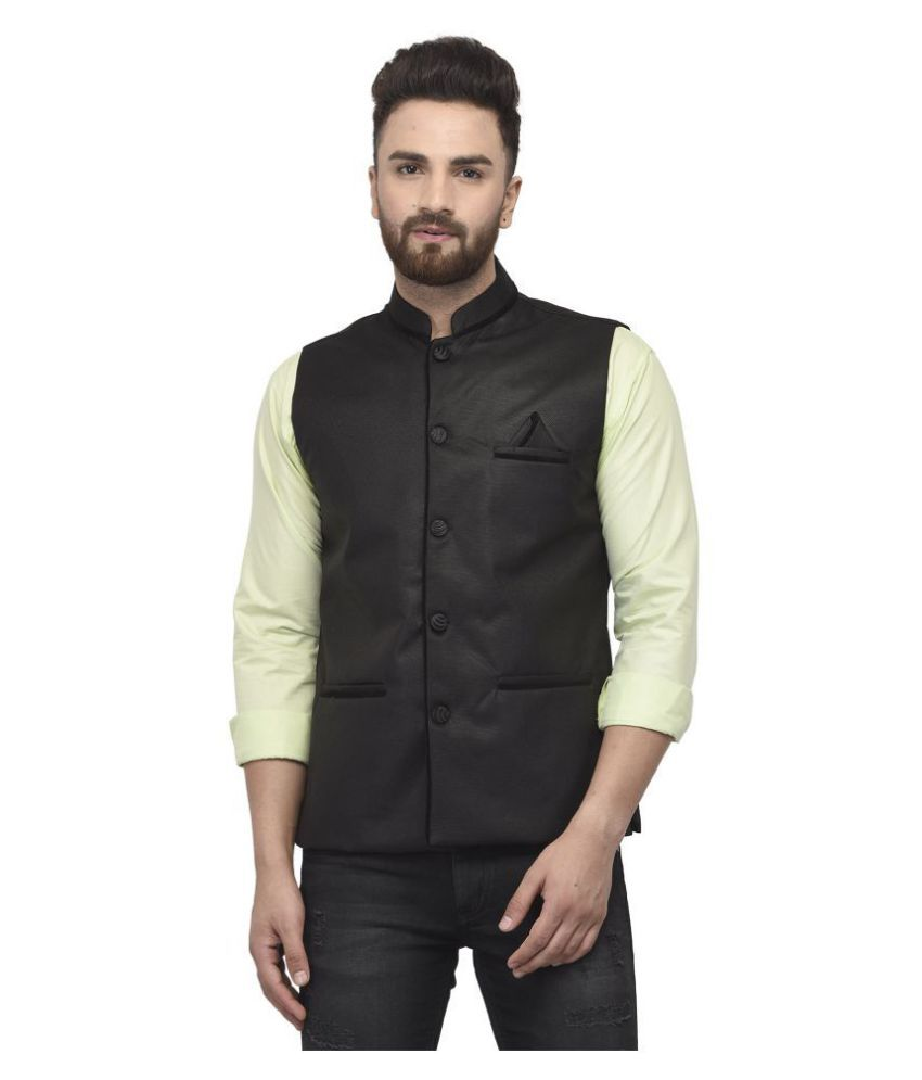 BENSTOKE Black Jute Nehru Jacket